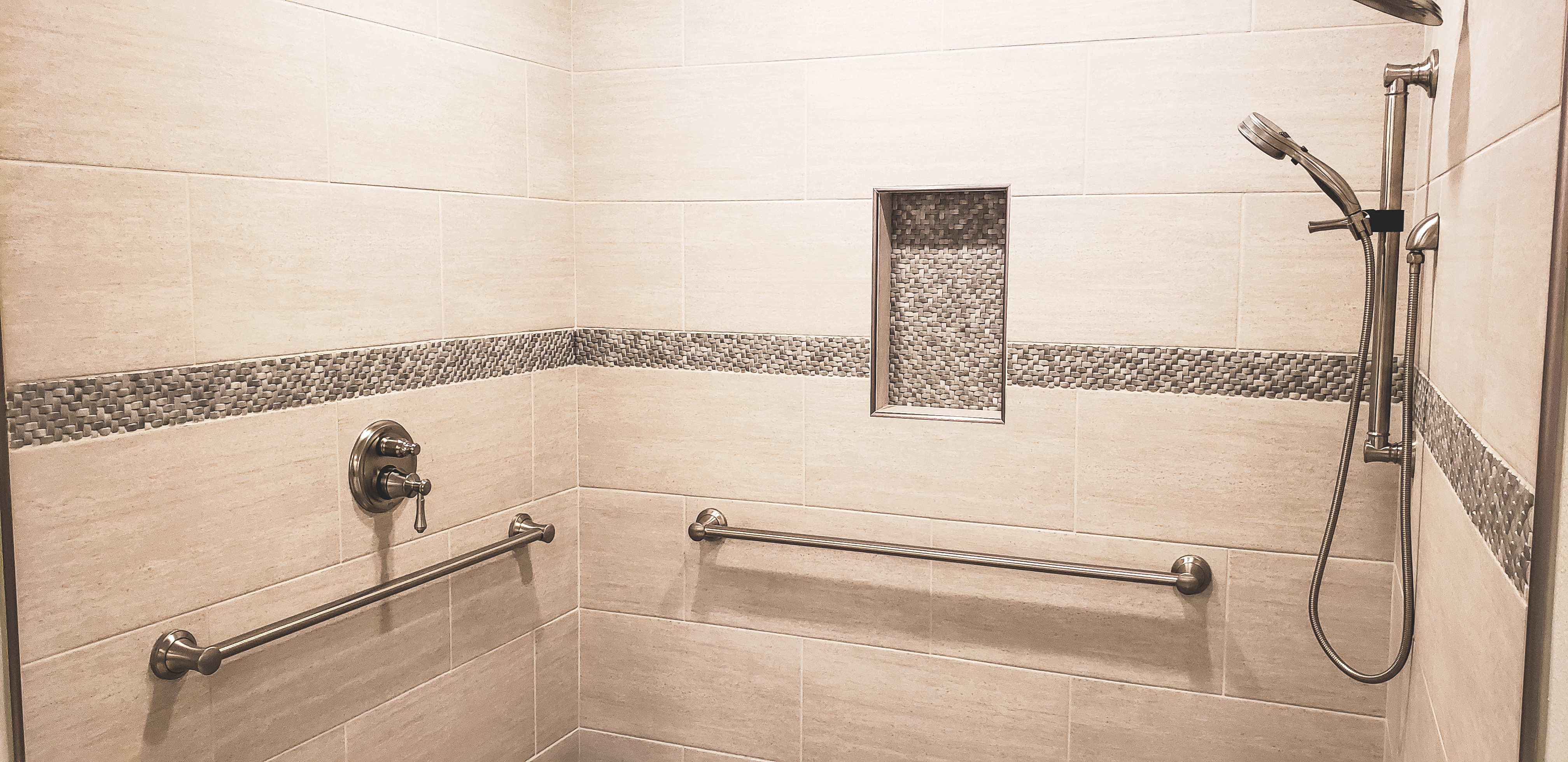Bathroom Remodel Roll-in Shower and Safety Bars